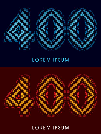 aglow: 400 ,abstract luxury font, Designed using cool and hot colors, line square, geometric shape, graphic vector. Illustration