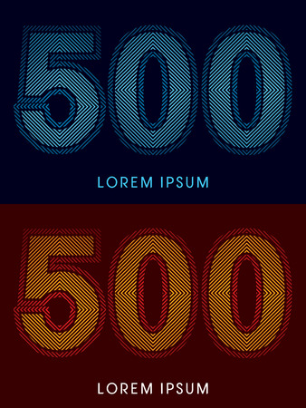 irradiate: 500 ,abstract luxury font, Designed using cool and hot colors, line square, geometric shape, graphic vector. Illustration