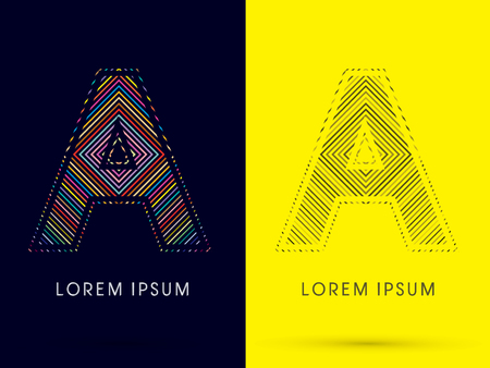aureole: A ,Font , colorful light movement, designed using colorful line and black and white line, graphic vector.