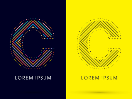 aureole: C ,Font , colorful light movement, designed using colorful line and black and white line, graphic vector.