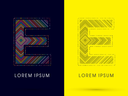 aureole: E ,Font , colorful light movement, designed using colorful line and black and white line, graphic vector.