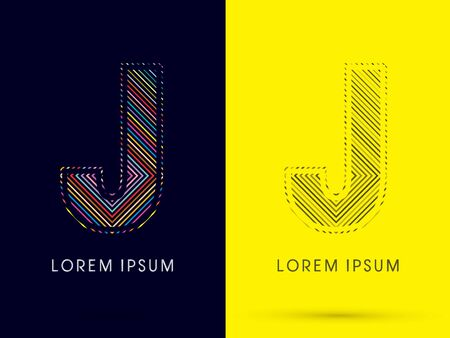 aureole: J ,Font , colorful light movement, designed using colorful line and black and white line, graphic vector.