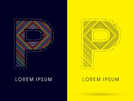 aureole: P ,Font , colorful light movement, designed using colorful line and black and white line, graphic vector. Illustration