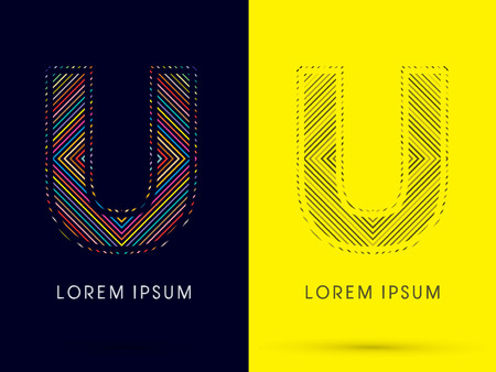 aureole: U ,Font , colorful light movement, designed using colorful line and black and white line, graphic vector. Illustration