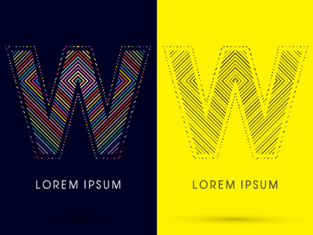 aureole: W ,Font , colorful light movement, designed using colorful line and black and white line, graphic vector.