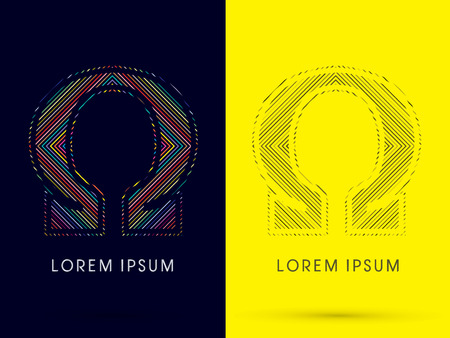 aureole: Omega ,Font , colorful light movement, designed using colorful line and black and white line, graphic vector.