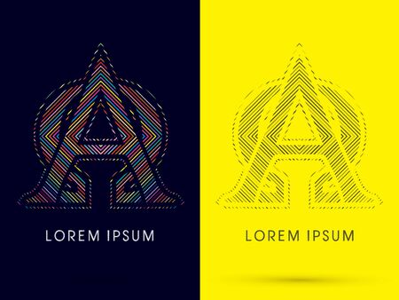 aureole: Alpha and Omega ,Font , colorful light movement, designed using colorful line and black and white line, graphic vector. Illustration