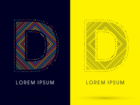 aureole: D ,Font , colorful light movement, designed using colorful line and black and white line, graphic vector.