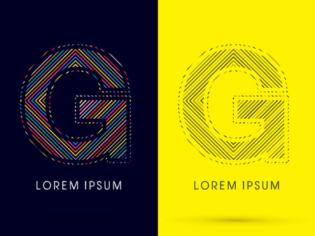 aureole: G ,Font , colorful light movement, designed using colorful line and black and white line, graphic vector.