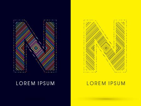 aureole: N ,Font , colorful light movement, designed using colorful line and black and white line, graphic vector.