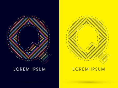 aureole: Q ,Font , colorful light movement, designed using colorful line and black and white line, graphic vector.