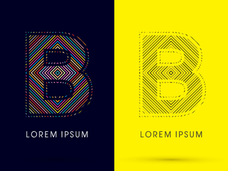 aureole: B ,Font , colorful light movement, designed using colorful line and black and white line, graphic vector. Illustration