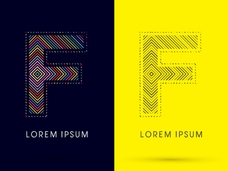illusory: M, Font, movimiento de luz de colores, dise�ado con colores de l�nea y l�nea de blanco y negro, gr�fico de vector. Vectores