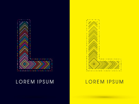 aureole: L ,Font , colorful light movement, designed using colorful line and black and white line, graphic vector.