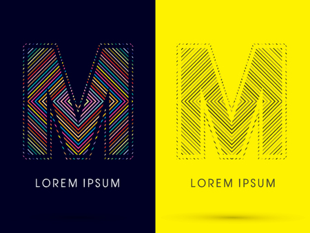 aureole: M ,Font , colorful light movement, designed using colorful line and black and white line, graphic vector. Illustration