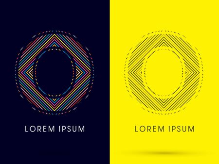 aureole: O ,Font , colorful light movement, designed using colorful line and black and white line, graphic vector.