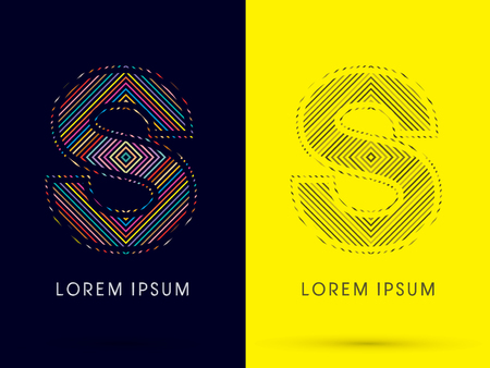 aureole: S ,Font , colorful light movement, designed using colorful line and black and white line, graphic vector.