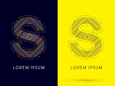 illusory: S, Font, colorido movimiento ligero, dise�ado con colores de l�nea y l�nea de blanco y negro, gr�fico de vector. Vectores