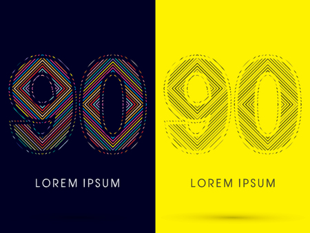 aureole: 90 ,Font , colorful light movement, designed using colorful line and black and white line, graphic vector.