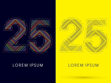 aureole: 25 ,Font , colorful light movement, designed using colorful line and black and white line, graphic vector. Illustration