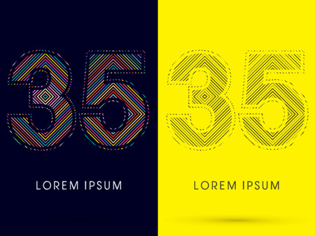 aureole: 35 ,Font , colorful light movement, designed using colorful line and black and white line, graphic vector.