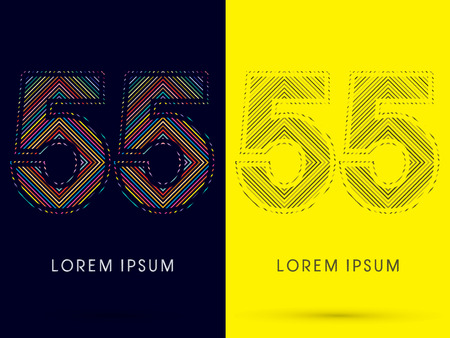 deceptive: 55 ,Font , colorful light movement, designed using colorful line and black and white line, graphic vector.