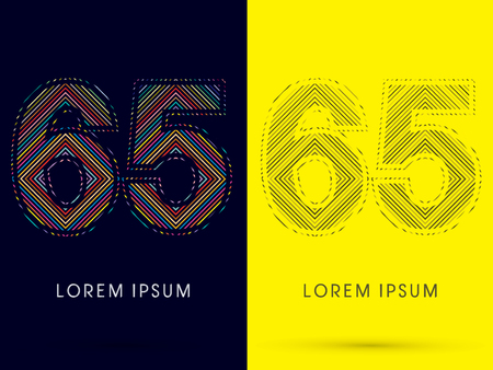 65: 65 ,Font , colorful light movement, designed using colorful line and black and white line, graphic vector.