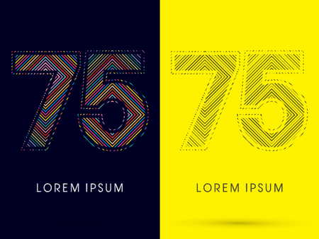 aureole: 75 ,Font , colorful light movement, designed using colorful line and black and white line, graphic vector.