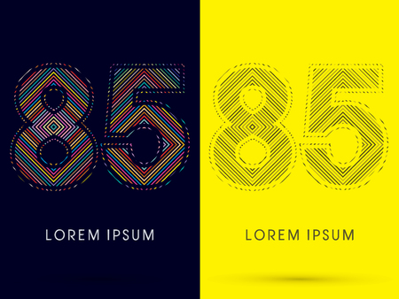 aureole: 85 ,Font , colorful light movement, designed using colorful line and black and white line, graphic vector.