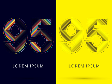 aureole: 95 ,Font , colorful light movement, designed using colorful line and black and white line, graphic vector.