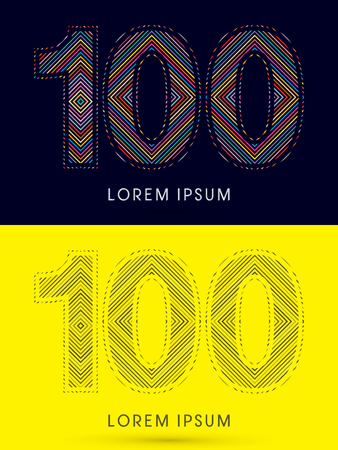 100 ,Font , colorful light movement, designed using colorful line and black and white line, graphic vector. Illustration