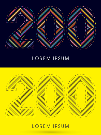 200 ,Font , colorful light movement, designed using colorful line and black and white line, graphic vector. Illustration