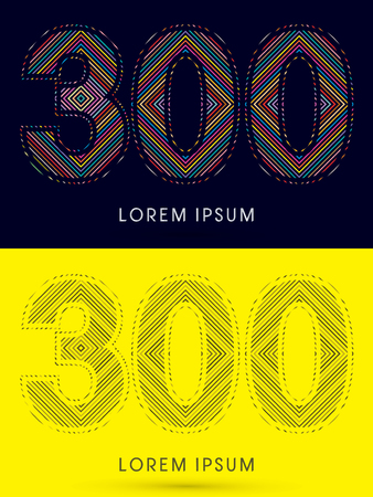 300 ,Font , colorful light movement, designed using colorful line and black and white line, graphic vector.