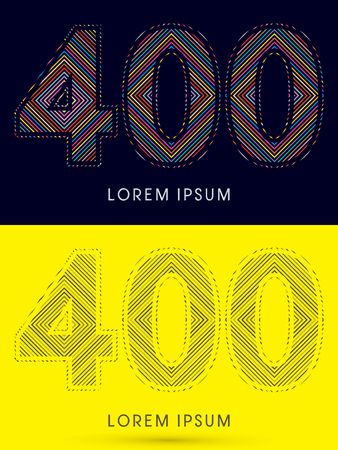 400 ,Font , colorful light movement, designed using colorful line and black and white line, graphic vector.