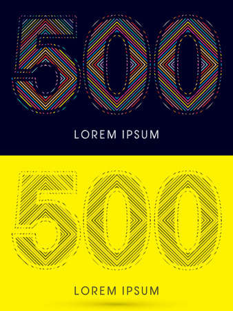 500 ,Font , colorful light movement, designed using colorful line and black and white line, graphic vector.