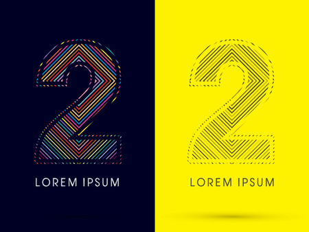 aureole: 2 ,Font , colorful light movement, designed using colorful line and black and white line, graphic vector. Illustration