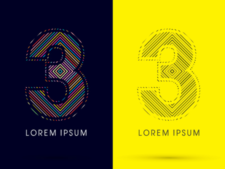 aureole: 3 ,Font , colorful light movement, designed using colorful line and black and white line, graphic vector.