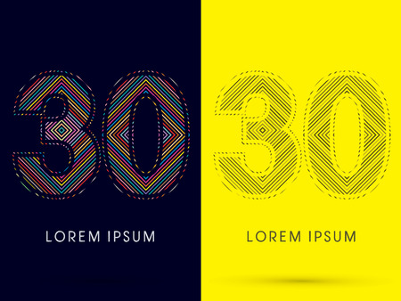 aureole: 30 ,Font , colorful light movement, designed using colorful line and black and white line, graphic vector.