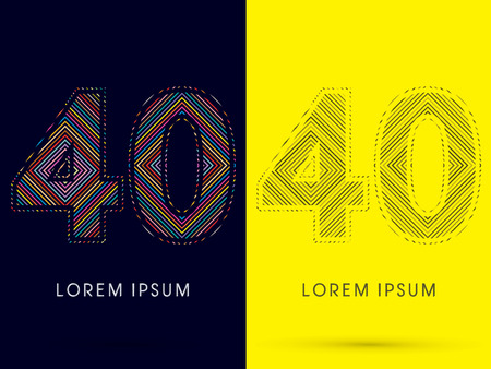 aureole: 40 ,Font , colorful light movement, designed using colorful line and black and white line, graphic vector.