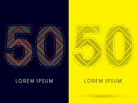 aureole: 50 ,Font , colorful light movement, designed using colorful line and black and white line, graphic vector.