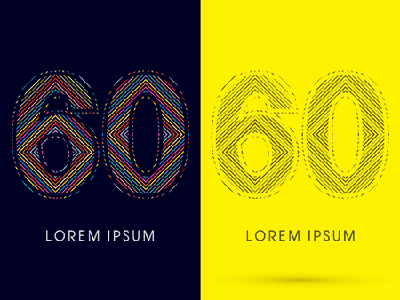 aureole: 60 ,Font , colorful light movement, designed using colorful line and black and white line, graphic vector.