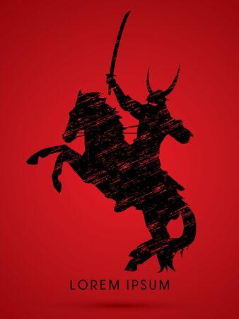 samourai: Silhouette Samurai équitation, prêt à se battre conçu en utilisant la ligne grunge vector graphic