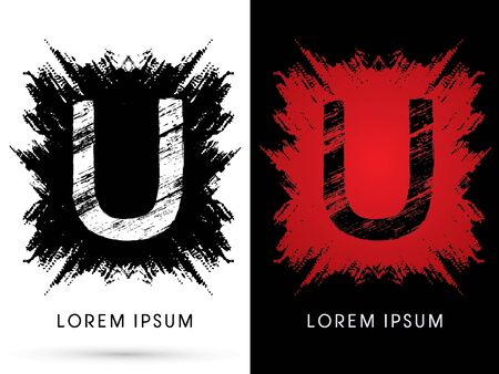 U ,Font, Designed using grunge brush on scratch background, graphic vector.