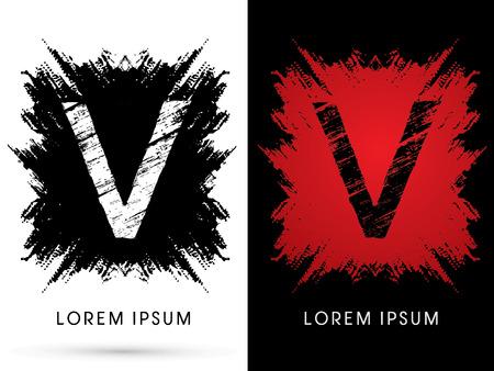V ,Font, Designed using grunge brush on scratch background, graphic vector.