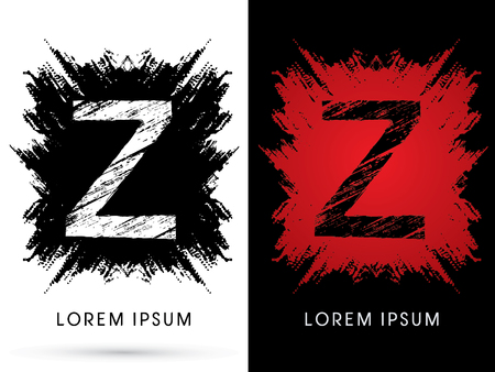 Z ,Font, Designed using grunge brush on scratch background, graphic vector.
