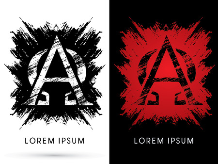 Alpha and omega ,Font, Designed using grunge brush on scratch background, graphic vector.