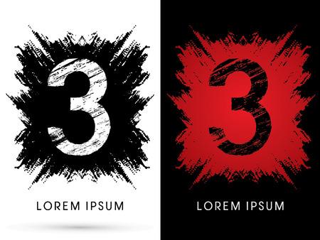 third birthday: 3 ,Font, Designed using grunge brush on scratch background, graphic vector.