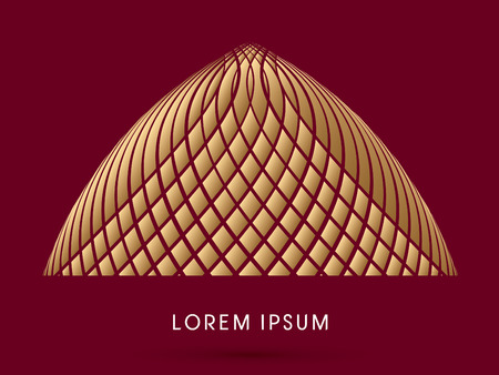 thatch: Abstract Dome,Luxury Building, designed using gold line and square graphic vector.