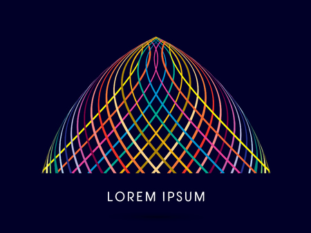 dome building: Abstract dome building, designed using colorful line graphic vector.