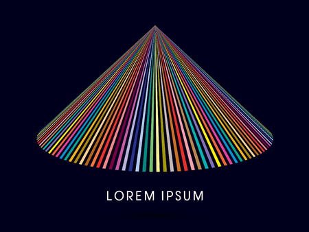 thatch: Abstract Pyramid, Triangle shape building, designed using colorful line graphic vector.